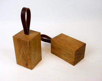 Chunky Oak and Leather door stop
