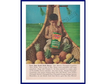 Can Of Sliced Pineapple /& Serving Plate of Pineapple Rings Del Monte Pineapple Original 1957 Vintage Extra Large Color Print Advertisement
