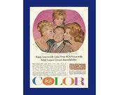 BOB HOPE RCA Victor Color Television Original 1965 Vintage Print Ad - Rhonda Fleming, Jill St. John and Marilyn Maxwell