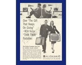 RCA Victor quot Thin Twin quot Portable Televisions Original 1959 Vintage Black White Print Ad - College Students in their Dorm Rooms Watching TV