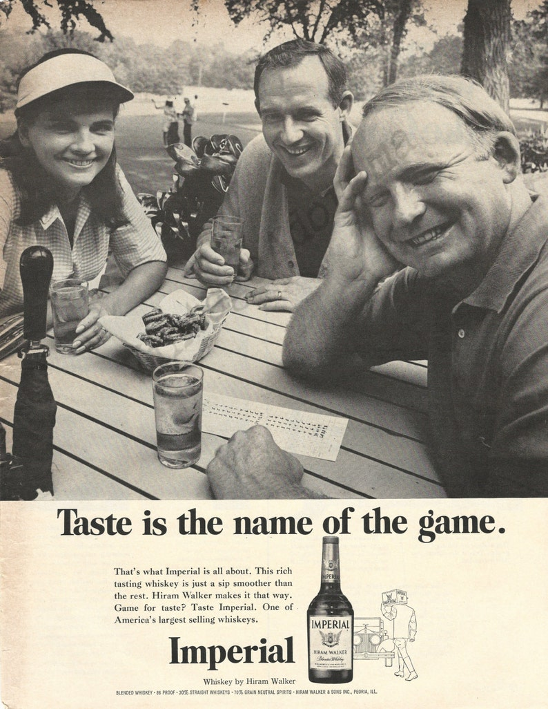 IMPERIAL WHISKEY Original 1967 Vintage Extra Large Black /& White Print Advertisement Taste Is The Name Of The Game Golfing Theme