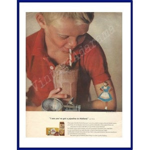 BORDEN/'S DUTCH CHOCOLATE Ice Cream Original 1962 Vintage Extra Large Color Print Ad One Scoop in a Dessert Glass with a Delft Blue Plate