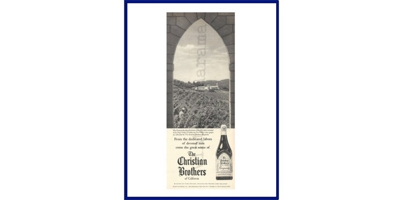 Christian Brothers Near Me >> Christian Brothers Burgundy Wine Original 1960 Vintage Black White Print Advertisment Napa Valley Vineyard Scene