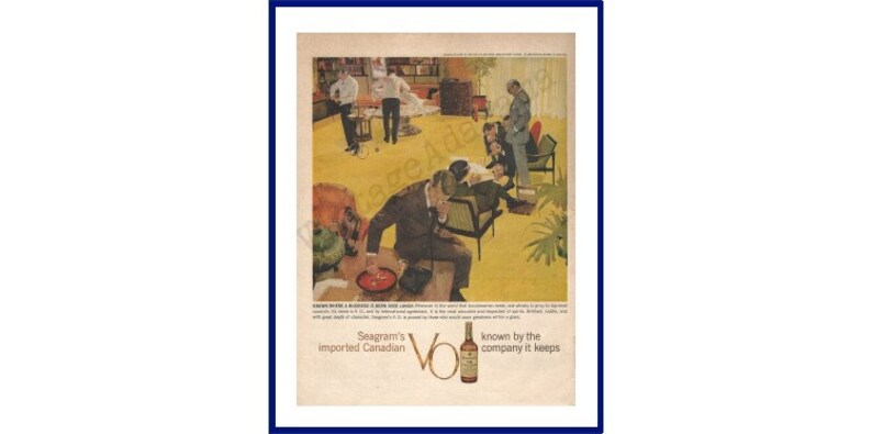SEAGRAM/'S V.O CANADIAN Whisky Original 1959 Vintage Extra Large Color Print Advertisement Known Where A Business Is Born Over Lunch