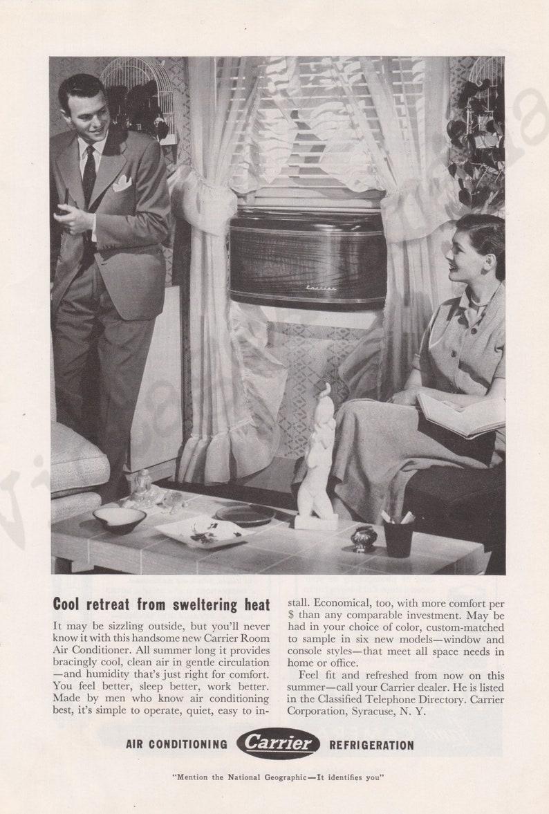CARRIER Room Air Conditioner Original 1950 Vintage Black & White Print  Advertisement
