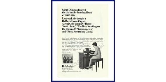 09e73e637 BALDWIN HOME ORGAN Original 1969 Vintage Black   White Print