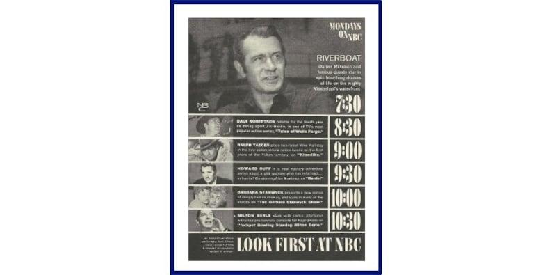 NBC TV Show Schedule Original 1960 Vintage Print Ad Monday Night:  Riverboat, Wells Fargo, Klondike, Dante, Barbara Stanwyck, Jackpot Bowling