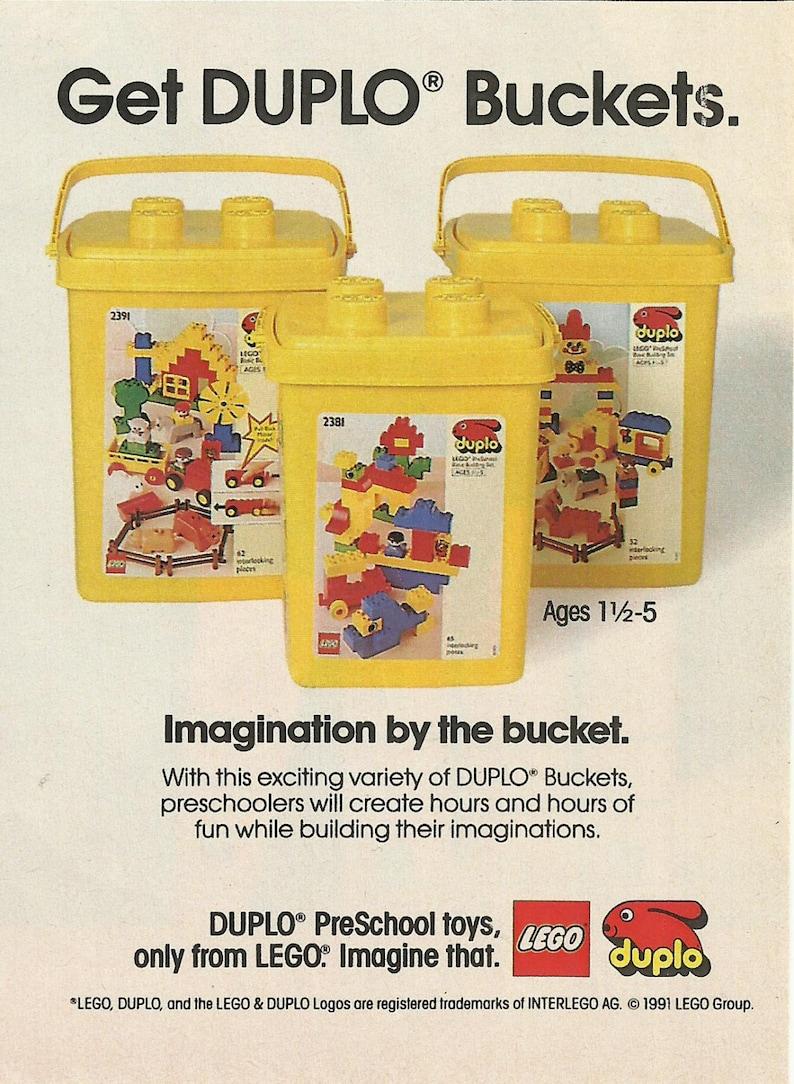 Lego Duplo Bucket Original 1991 Vintage Color Print Etsy