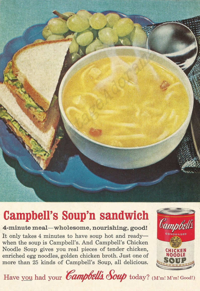 campbell's chicken noodle soup original 1962 vintage color