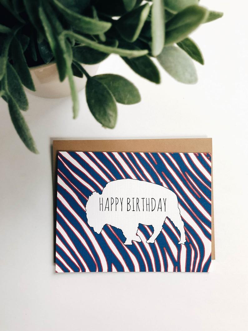 Buffalo Bills Zubaz Happy Birthday Card Happy Birthday Card | Etsy