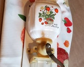 Vtg Wall Mount Coffee Grinder Wild Strawberry w Matching Tablecloth Farmhouse Cottage Country Kitchen Decor Charming and Functional