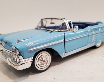 Chevy Convertible 1958 Impala Blue w Silver Detail Nice Shape Classic Auto Collectible Timeless Keepsake Car Enthusiast Collector Gift