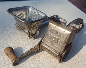 Moulin Pair of Kitchen Utensils Vintage Legumes Garlic Press Grater Sifter CollectiblesTin Rustic Farmhouse France Embossed Lettering