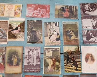 Antique Sweetheart Postcards Lovers Portrait Mutoscope Cards Photographs Ephemera Early 1900 Memorabilia Mail Notes Writing European Made