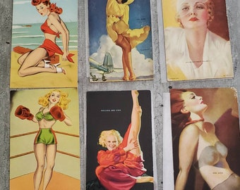 Mutoscope Pin Up Cards Sexy Postcards 1940s Era Collectibles Yankee Doodle Girl Holding Her Own Tail Wind Dog Gone Fight For It