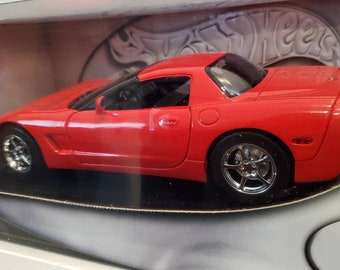 Red Corvette C5 Die Cast Like New Sealed Box by Hot Wheels 1:18 Scale Collectible Sports Car Model Beauty Gift Showcase Man Cave Issued 2002