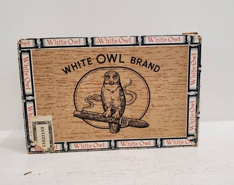 Classic White Owl Invincibles Wooden Cigar Box 50 Pack Size Mid Century Design Claro With Customs Label Nice Shape Rare Find Keepsake