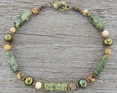 Green Pearl and Matte Stone Bracelet - Tumbled Natural Stone and Pearl Bracelet in Small to Plus Sizes