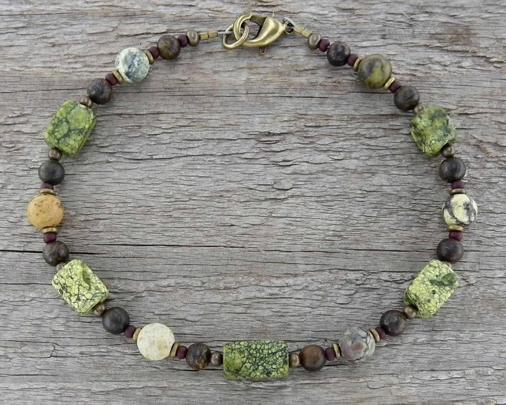 Sm Tumbled Stone Beach Anklet or Bracelet in Natural Jasper /& Amethyst Large