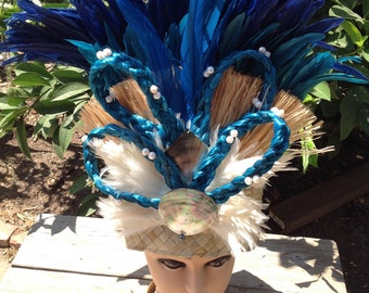 Tahitian And Cook Islands Hau Bark And Fresh Water Pearls Headpiece.. Perfect For Soloist Of All Ages, Halau Dancers, Luau, Poly Clubs,