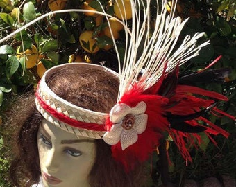 SIMPLE Tahitian & Cook Islands Headpiece. For Girls Of All Ages.My Daughter Designed This For Her Solo Headpiece In 2004! Any Color Feathers