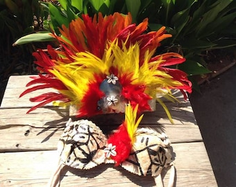Tahitian And Cook Islands/Rarotongan Costume Set. Listing Is For One Headpiece & One Bra Top. Perfect For Girls Of All Ages.