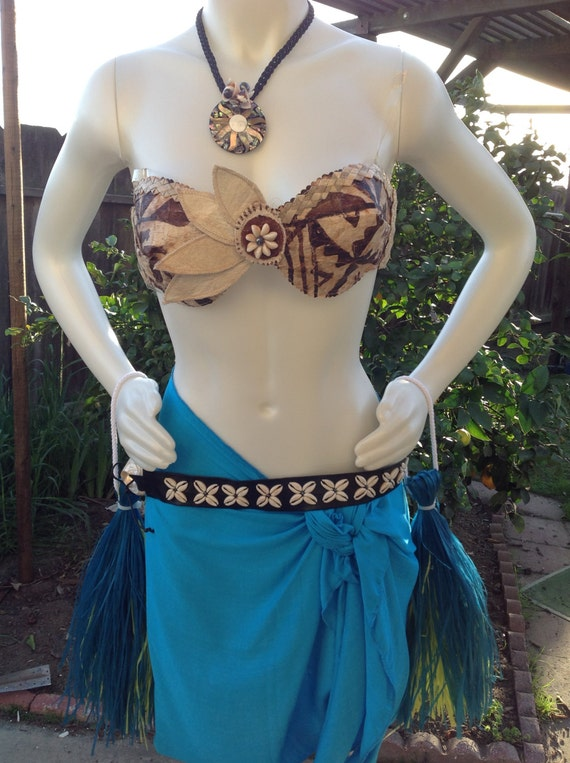 Authentic Tapa Cloth And Weaved Lauhala Tahitian /& Cook Islands Set Set Is 1 Bra Top And One Half Length Fringeless Pareu Of Your Choice!!