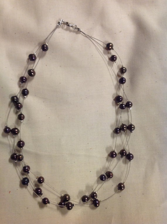 Black 3 String Of Black Fresh Water Pearls Necklace
