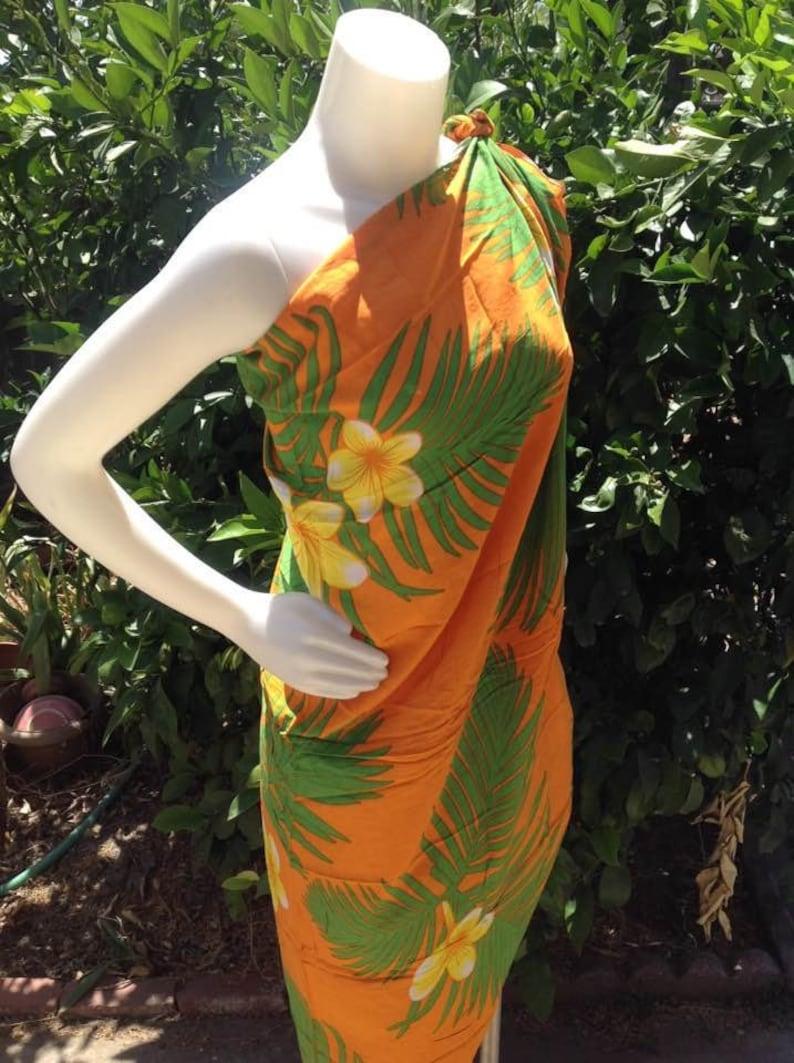 2d5799c17dcc1 Hawaiian Orange Floral Print Sarong. Beach Wear Luau. Full | Etsy