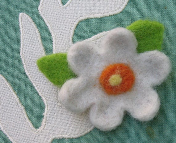 White Six Petal Needle Felted Flower Pin With Orange And Etsy