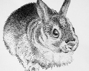Instant Download of Bunny Pointillism Drawing