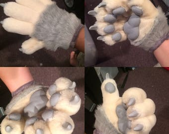 Anthro hand paws five finger animal gloves for fursuit, mascot, animal costume