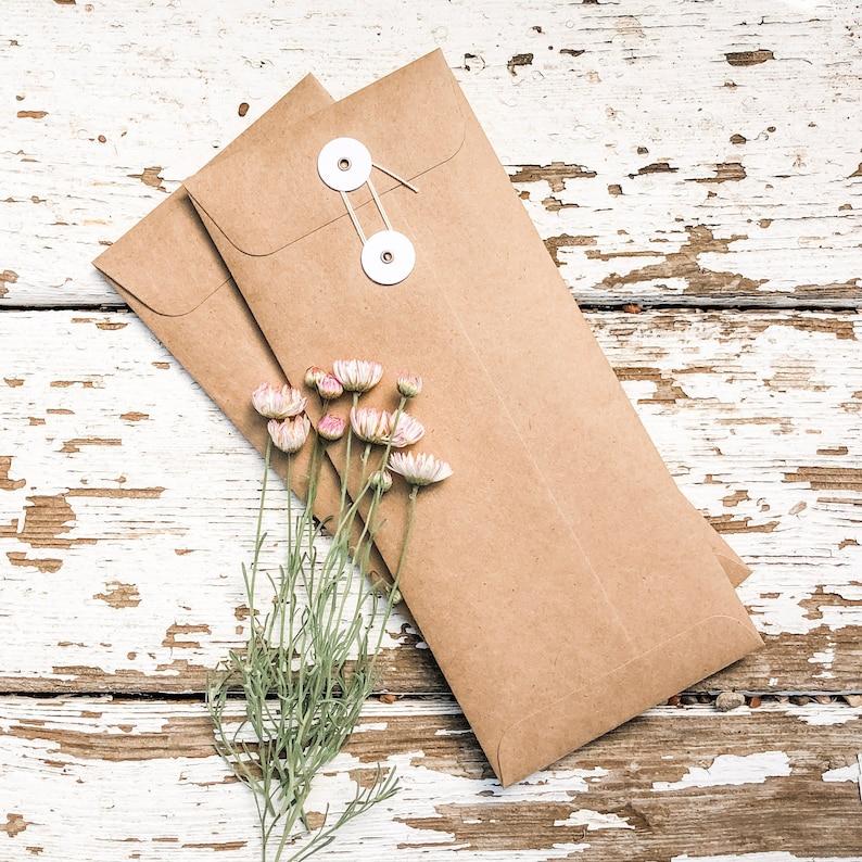 Set of 5 Envelopes # 10 4 18 w x 9 12 h Letter Size String Tie Envelopes