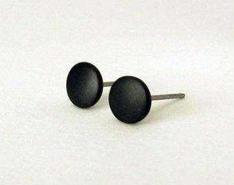 8049046f4 Black stud earrings, matte black earrings, mens stud earrings, black studs,  matte black studs, mens earrings, mens studs, round flat earring