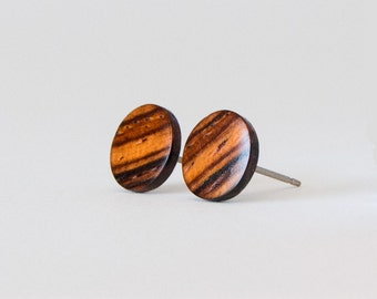 Minimalist round stud earrings Wooden stud earrings with gold inlay Handcrafted recycled wood earring studs