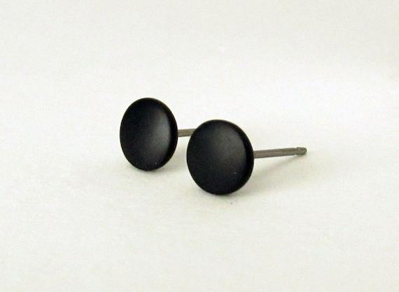 421331676 Black stud earrings matte black earrings mens stud earrings | Etsy