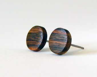 Ebony Wood Stud Earrings, wood earrings, unisex, mens stud earrings, men's studs, wood post earrings, natural wood studs, round wood studs