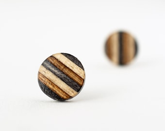 Gray Striped Wood Stud Earrings, casual stud earrings, wood posts, 5th anniversary gift, unisex earrings, wooden earrings, flat studs