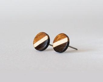 Striped Wood Studs, wood earrings, unisex, mens stud earrings, wood stud earrings, men's studs, wood post earrings, natural wood studs