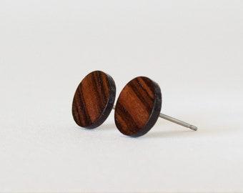 Rosewood Studs, wood earring stud, casual stud earrings, wood posts, hipster stud earrings, wood stud earrings, natural wood studs, unisex