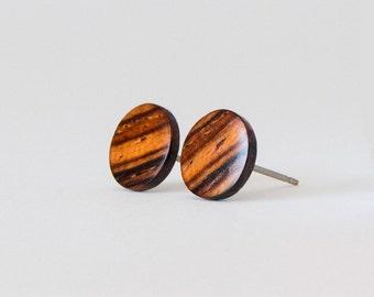 Cocobolo Wood Studs, Wooden Earrings, Unisex Stud Earrings, Wood Stud Earrings, Striped wood studs, wood post earrings, natural wood studs