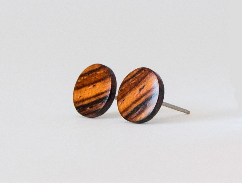 Cocobolo Wood Studs Wooden Earrings Unisex Stud Earrings image 1