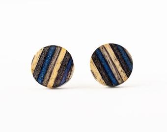 Blue Stripe Wood Studs, wood earring stud, casual stud earrings, striped wood earrings, colorful wood earrings, black wood studs, unisex