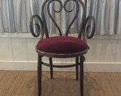 Vintage Bentwood Chair with Red Velvet Upholstered Seat Cushion