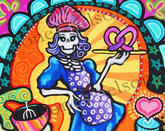 Day of the Dead Art Kitchen Catrina pinup Mexican Folk Art Print Rockabilly Bakery Mexican Skeleton Kitchen Decor Cake Trippy bright color