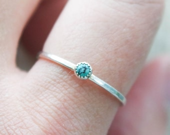 Genuine Turquoise ring | Dainty Turquoise ring | Turquoise stacking ring | Silver Stacking ring | hammered stacking ring