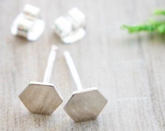 Hexagon studs | Silver Hexagon earrings | Geometric studs | Simple studs | Sterling silver studs