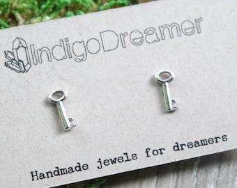 Skeleton Key earrings | Key studs | Silver key earrings | Key jewelry