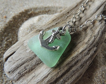 Handmade Natural Surf Tumbled Bright Aqua Sea Glass Necklace with Anchor Charm
