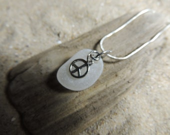 Handmade Surf Tumbled Natural Authentic White Sea Glass Necklace with Peace Sign Charm